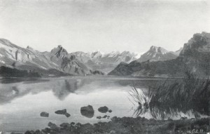 Fig. 1 Robert Zünd, Study of Lake Lucerne, 1858, oil on paper on card, 26 x 41 cm, dated lower right 14. Oct. 1858